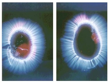 kirlian photo - right thumb, kirlian photo - left thumb